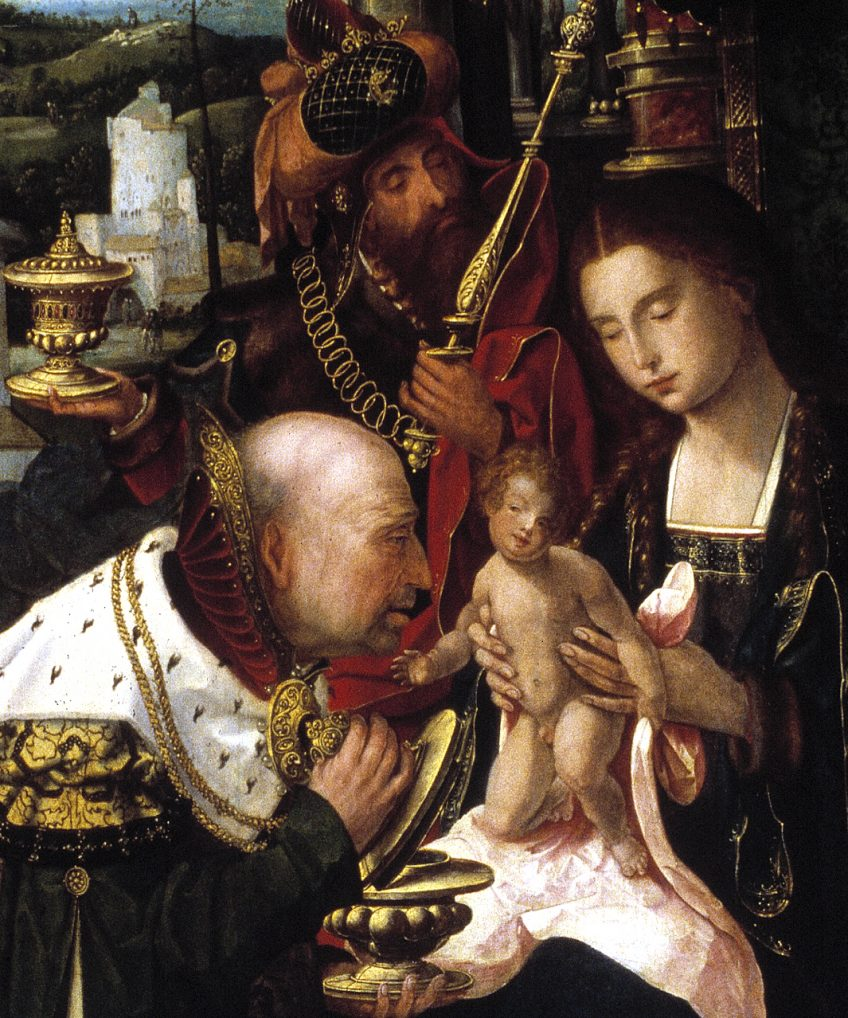 Herman Pleij: 'Het kind is een complete man' - Drieluik met Aanbidding van de koningen (detail), Meester 1518, ca. 1530, Museum Catharijneconvent, Utrecht