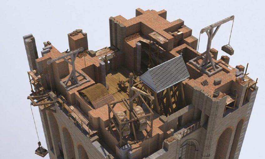 De bouw van de Domtoren omstreeks 1326, Daan Claessen (Centraal Museum)