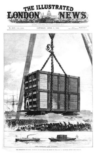 Jumbo wordt in de kist getakeld voor de reis naar Amerika. Bron: Wikimedia