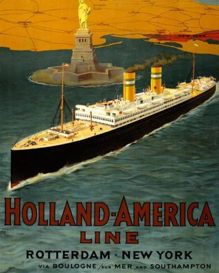 Poster Holland-Amerika Lijn. Bron: archief HAL, Gemeentearchief Rotterdam