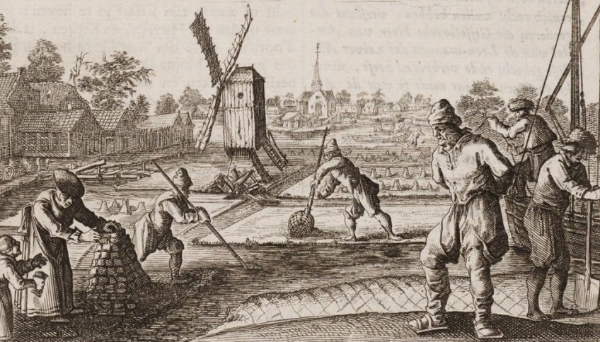 Turfstekers - Kopergravure uit de zeventiende eeuw, Universiteitsbibliotheek Leiden.