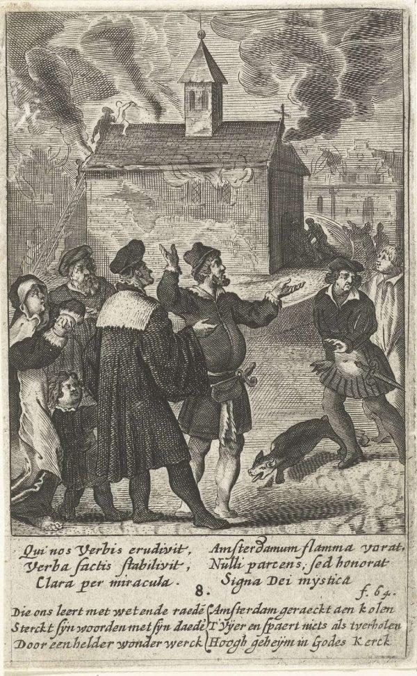 Het Sacrament van Mirakel overleeft de tweede grote stadsbrand in 1452, Boëtius Adamsz Bolswert (ca. 1580-1633), Antwerpen 1639, Collectie Rijksmuseum