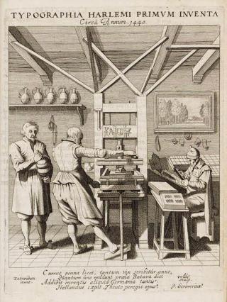 Tekening van de drukkerij van Laurens Janszoon Coster, circa 1440. Bron: drukkunstmuseum