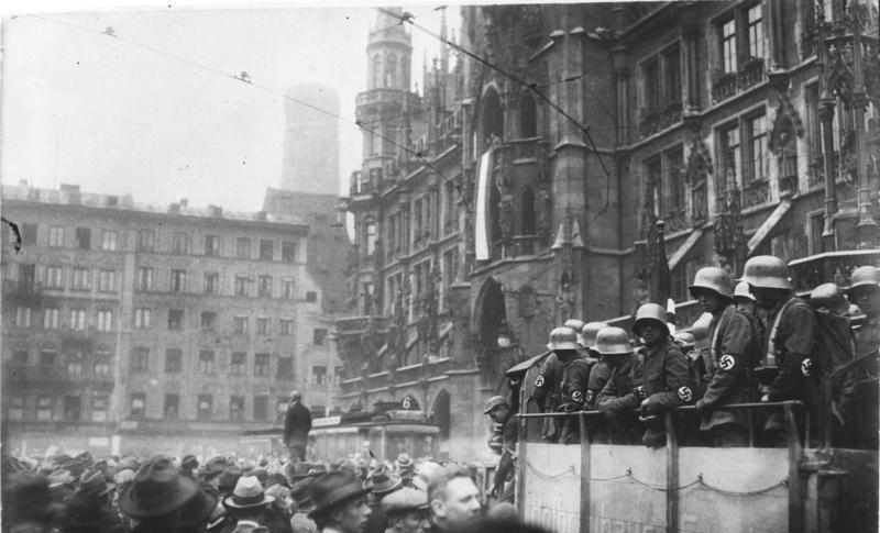 Marienplatz in Munchen tijdens de Putsch