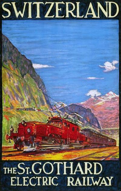 Affiche Elektrische Gotthardspoorweg, Daniele Buzzi, 1924