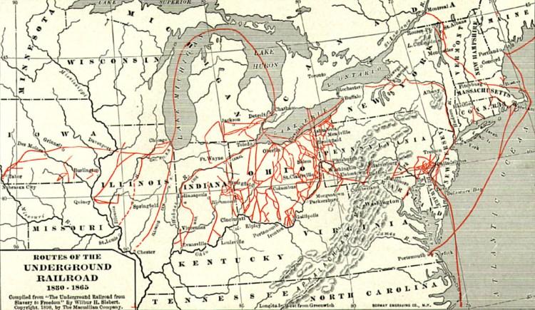 Kaart met verschillende routes van de Underground Railroad