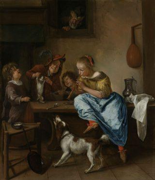 Kinderen leren een poes dansen,… Jan Havicksz. Steen, 1660 - 1679. Afbeeldingen: Rijksmuseum