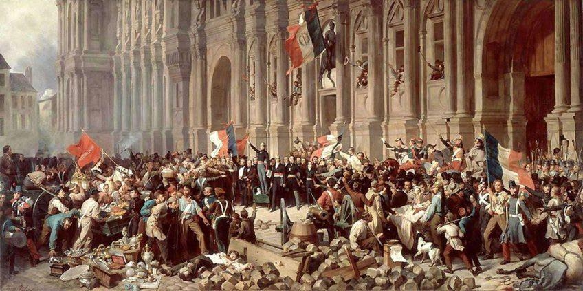 Schilderij van de Februarirevolutie in Parijs, 25 februari 1848. Bron: Wikimedia (Eng.)