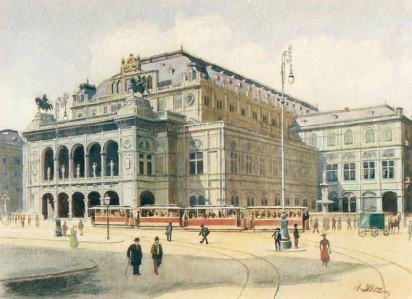 Weense Staatsopera, in 1912 door Adolf Hitler geschilderd