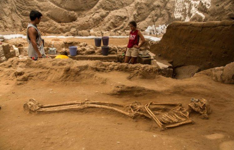 Een van de gevonden skeletten (Leon Levy Expedition to Ashkelon)