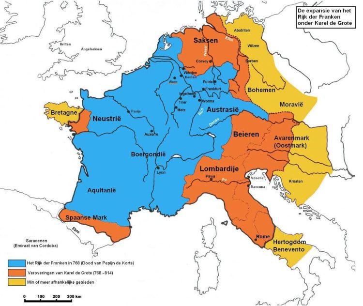Frankenrijk: veroveringen onder Karel de Grote. Bron: Wikimedia