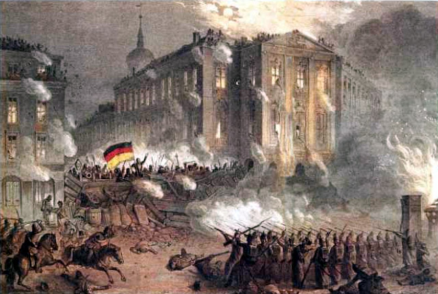 Onrust op de ALexanderplatz, Berlijn 1848. Bron: Wikimedia (Eng.)