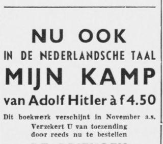 Advertentie voor de Nederlandse vertaling - Volk en vaderland, 29 september 1939 (Delpher)