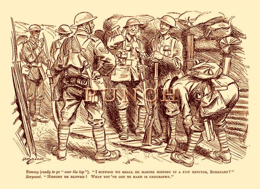 Spotprent over soldaten die bijna 'over de top' gaan (Punch, november 1916)