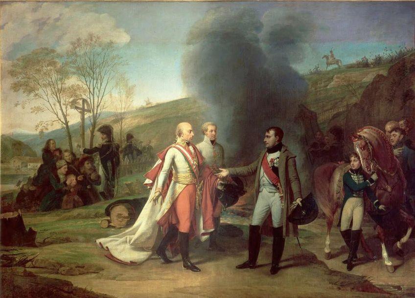 Heilige Roomse Keizer Frans II en Napoleon tijdens Slag bij Austerlitz, 2 december 1805. Bron: Wikimedia