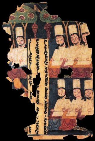 Manicheese priesters aan schrijftafels, voorzien van tekst in het Sogdisch. Manuscript uit Khocho, in het Tarimbekken.