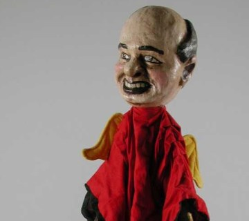Poppenkastpop van oud-Sovjetpresident Michail Gorbatsjov, gemaakt door Wim Kerkhove, laatste kwart twintigste eeuw. Amsterdam Museum, KA 20653.43.