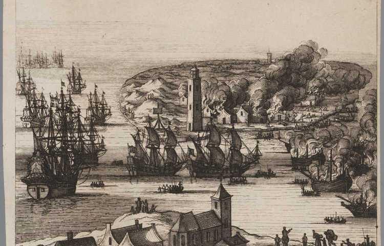 Prent 'De brandt, van de Schepen in t Vlie en der Schelling, op den 19 en 20 Augusti, 1666'. Amsterdam Museum, A 18202.