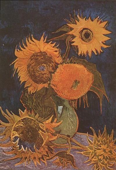 Vaas met vijf zonnebloemen (Arles, augustus 1888). Vernietigd bij een brand in de Tweede Wereldoorlog op 6 augustus 1945.