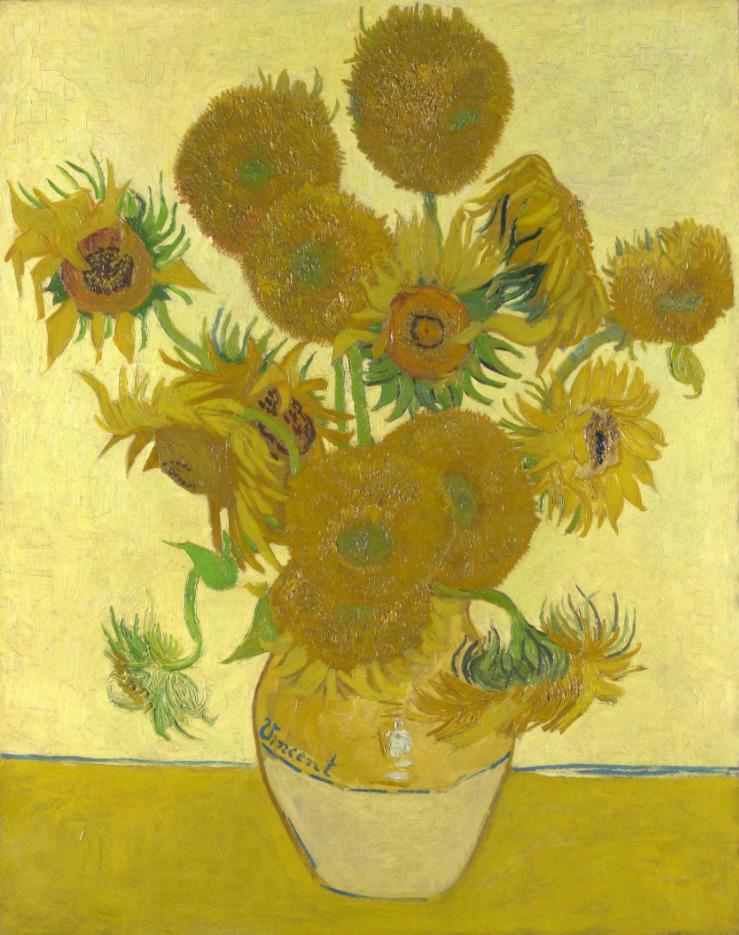 Vaas met vijftien zonnebloemen (Arles, augustus 1888). National Gallery, London, Groot-Brittannië