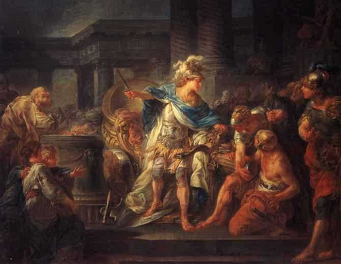 """Jean Simon Berthelémy (1743-1811), """"Alexander hakt de Gordiaanse knoop door""""."""
