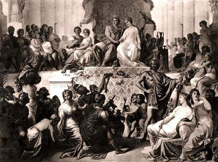 Het massahuwelijk te Susa, waarbij Alexander met Stateira trouwde en Hephaiston met Drypetis.