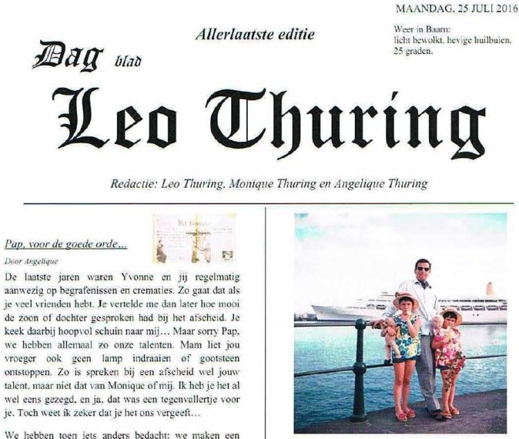 Geheel in stijl va de 'krantenman' wijdde zijn familie na zijn dood een 'laatste editie' aan zijn leven.