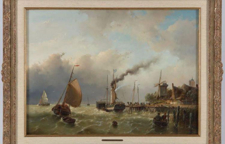 """""""Een raderstoomschip in veerdienst bij een opstapplaats aan een steiger"""""""