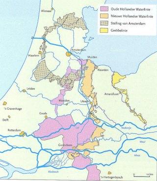 Kaart met de Hollandse waterlinies