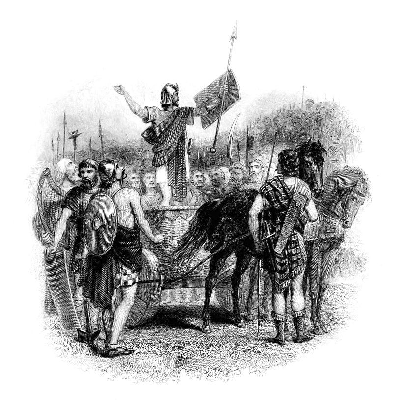 Calgacus spreekt zijn manschappen toe (19e-eeuwse afbeelding)