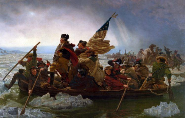 George Washington steekt de Delaware over, 1776. Schilderij van Leutze