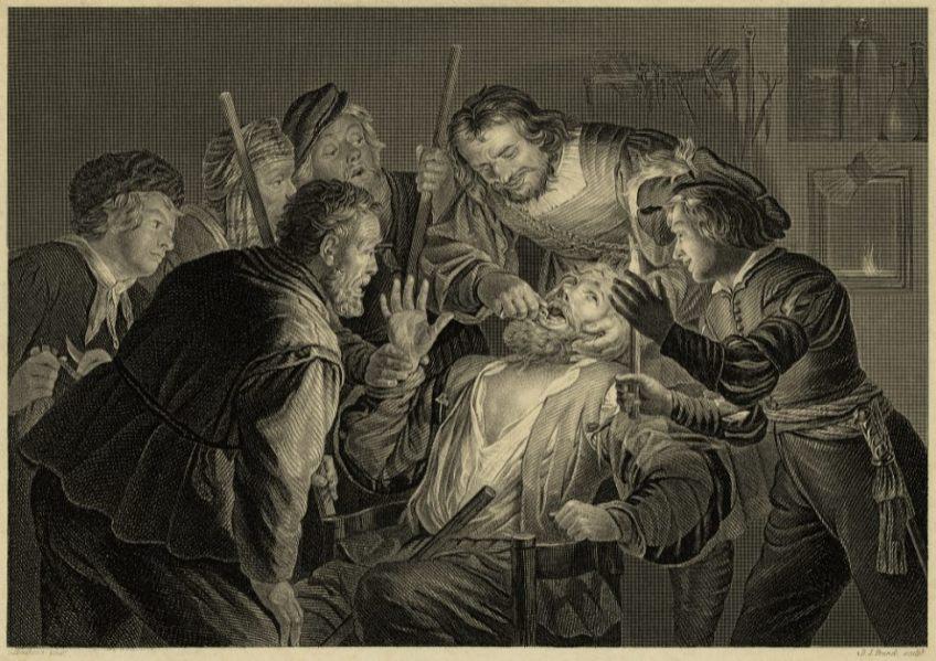 D.J. Pound naar Gerard van Honthorst The Toothdrawer - Der Zahnbrecher, ca. 1840 staalgravure, 125 x 181 mm