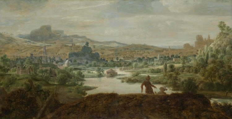 River Landscape with Figures, panel, 45.5 x 88.5 cm, ca. 1625-30. Private Collection