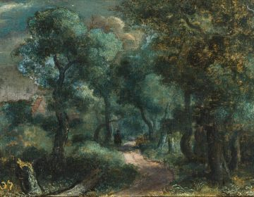 Woodland Path, canvas on panel, 16.1 x 22.7 cm, ca. 1618-20. Private Collection