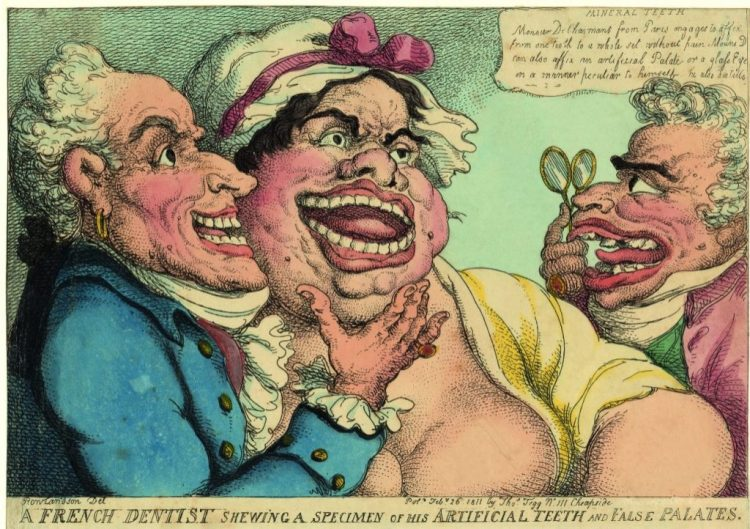 Thomas Rowlandson A French Dentist shewing a specimen of his Arteficial Teeth and False Palates, 1811 ets, met de hand gekleurd, 217 x 327 mm