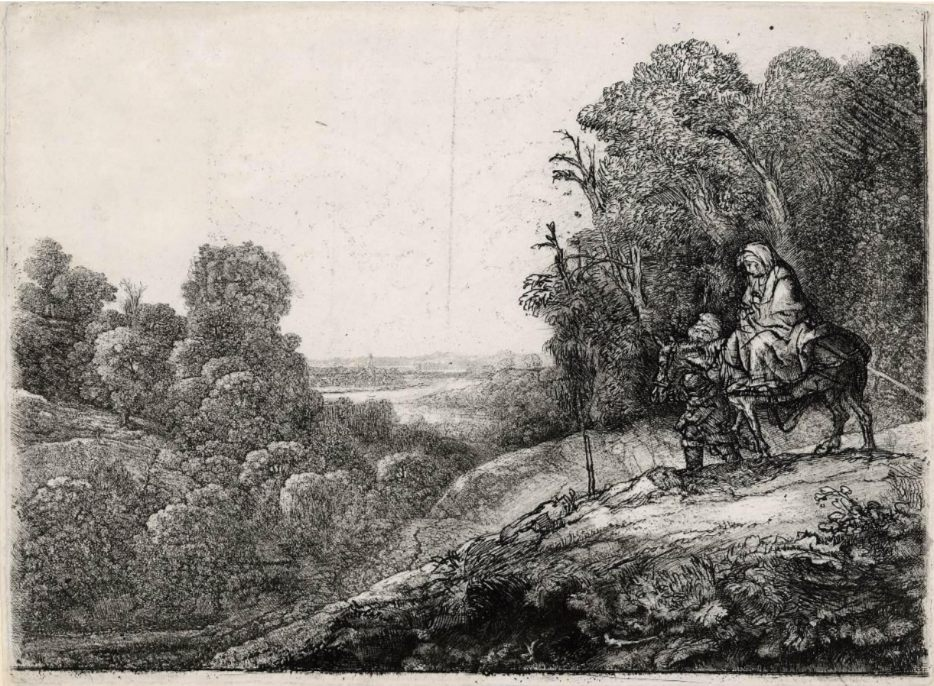 Rembrandt, De vlucht naar Egypte, op een plaat van Hercules Segers, ca. 1652, ets, burijn en droge naald, staat V (6), 212 x 284 mm, Museum Het Rembrandthuis, Amsterdam