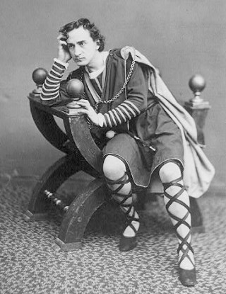 De Amerikaanse acteur Edwin Booth als Hamlet, ca. 1870 - cc