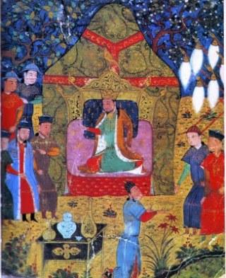 Dzenghis Khan op een vijftiende-eeuwse afbeelding