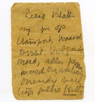 Afscheidsbriefje van Hetty Voûte (1918-1999, collectie NM Kamp Vught)