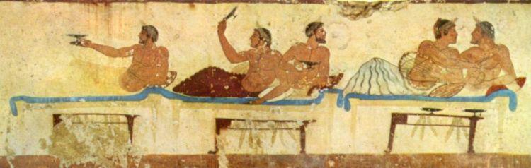 Een symposium, fresco uit de 5e eeuw v.Chr.