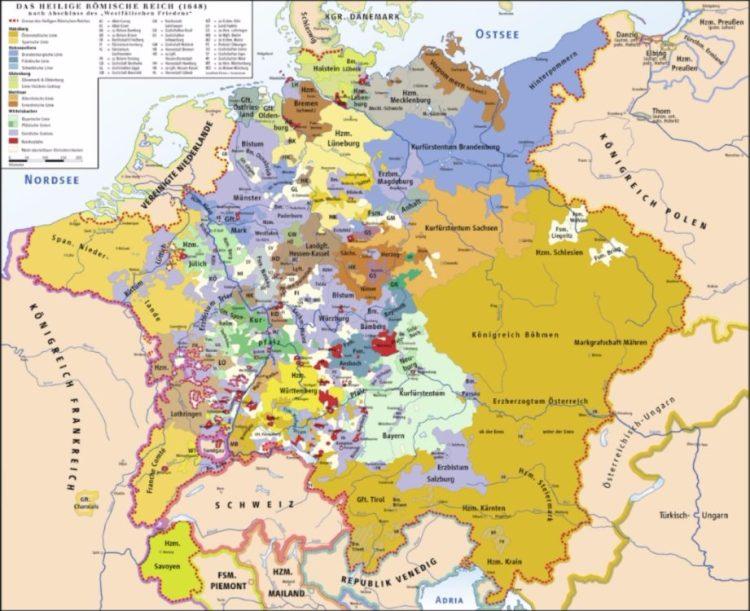 Het Heilig Roomse Rijk in 1648. De Republiek is al weg, de contouren van verschillende hedendaagse landen al zichtbaar, maar verder een lappendeken van voirstendommetjes. (Kaart Wikipedia)