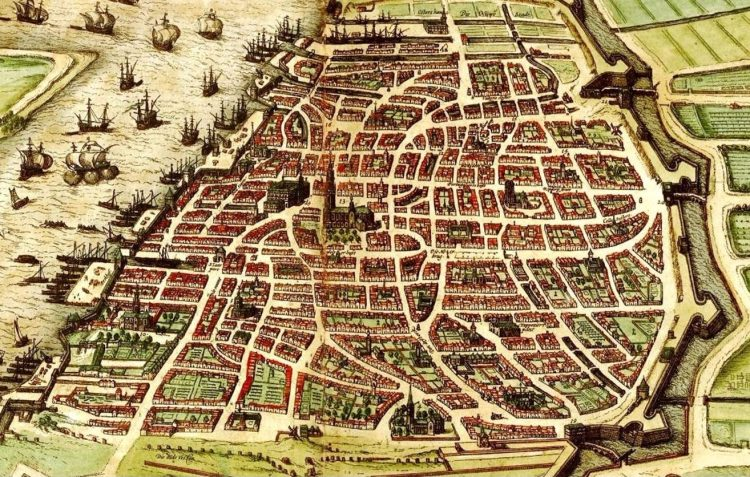 """Detail van een stadsplan uit 1572 in """"Civitas Orbis Terrarum"""" van Braun & Hogenberg. De omwalling werd in de Gouden 16de eeuw aangelegd en verdween in de tweede helft van de 19de eeuw, om te worden vervangen door de huidige Leien. Middenin de stad zien we de O.L.V.-kathedraal, met daarnaast het Groenkerkhof. Op het kerkhof stonden bomen, met daartussen de grafzerken. (Bron: http://www.laurentii.be/Research_1584_Antwerpen.htm, z.j.)"""
