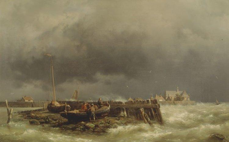 Schokland. Schilderij van Hermannus Koekoek jr (1836-1909) uit ca 1860. (Bron: Zuiderzeemuseum Enkhuizen)