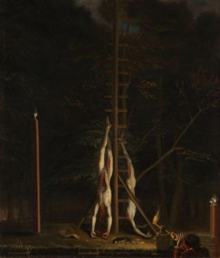 De verminkte lijken van de gebroeders De Witt, opgehangen op het Groene Zoodje aan de Vijverberg te Den Haag, 1672 (Jan de Baen)