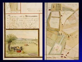 Eén van de fraai geïllustreerde kaarten van de Heerlijkheid Rosendael, met koetje in de wei en nauwkeurig grensverloop.