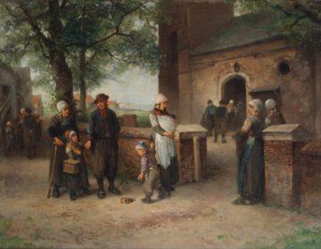 Zondagmorgen in Monnickendam van de schilder Mari ten Kate (1831-1910)