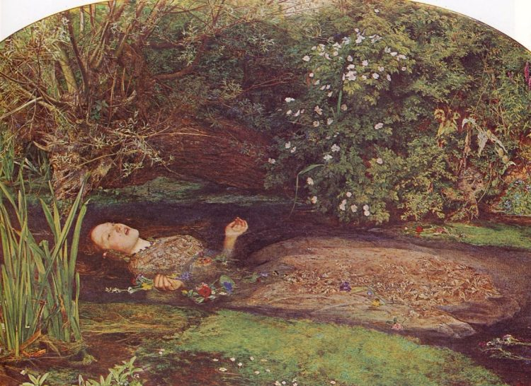 John Everett Millais, Ophelia, 1851-1852 - Model Elizabeth Siddal (1829-1862) kroop in de rol van Shakespeare's Ophelia. In Hamlet wordt Ophelia tot waanzin gedreven, waarop ze zelfmoord pleegt. Dagenlang poseerde Elisabeth Siddal in een kuip met koud water, waardoor haar gezondheid ernstig werd aangetast. (Wikipedia)