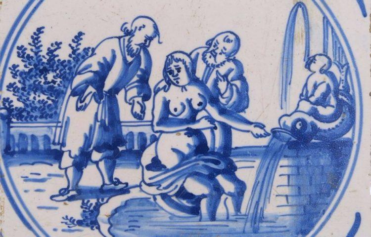 Susanna door de twee ouderlingen belaagd, tegel, geglazuurd aardewerk, 1700-1800, Collectie Amsterdam Museum