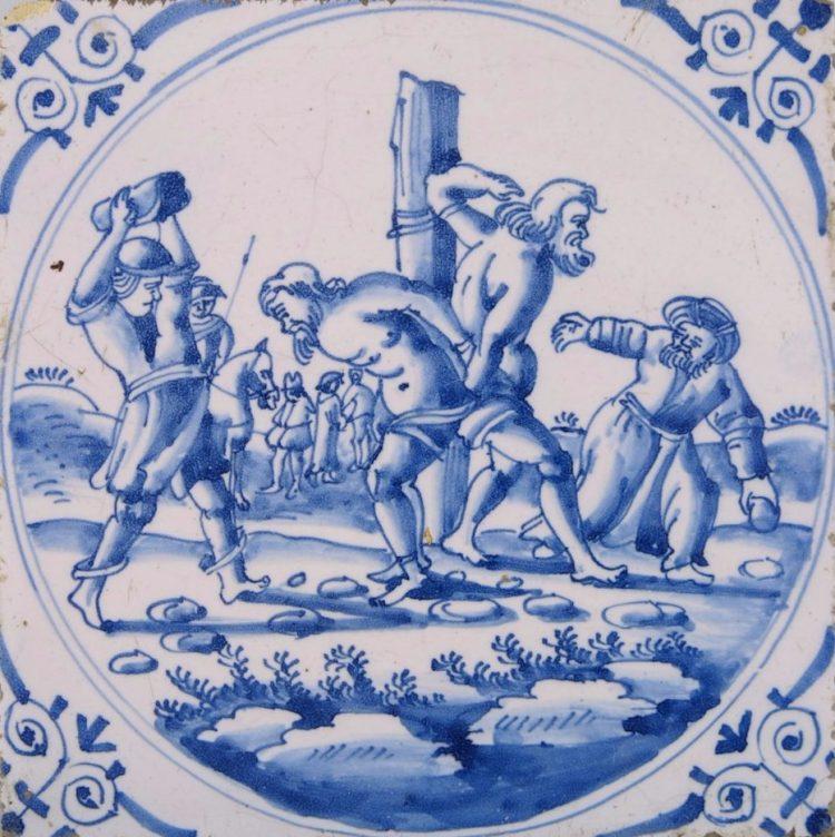De ouderlingen worden gestenigd, tegel, geglazuurd aardewerk, 1700-1800, Collectie Amsterdam Museum