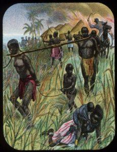 Arabische slavenhandelaren met hun gevangenengstone schreef in zijn dagboeken onder meer veel over de gruwelen van de Arabi